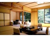 榎(なつ)の間。白布の四季の中でも最も爽やかな初夏をイメージしたお部屋