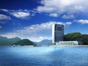 ホテル外観。瀬戸内海の穏やかな景観に囲まれたアーバンリゾートホテル。