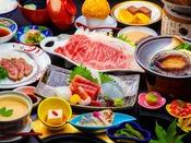 ワンランク上の夕食を堪能!上州和牛しゃぶしゃぶ&鮑の踊り焼きがメインの贅沢会席料理。