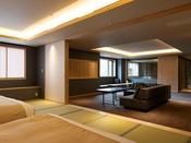 【街側の温泉&寝湯付客室「松風」(120平米)】広々とした空間でゆったりと。