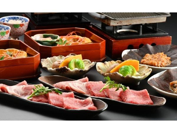 【夕食】飛騨牛と夢やまびこ豚の朴葉味噌焼