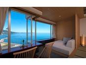 全室相模灘と熱海市街を一望。