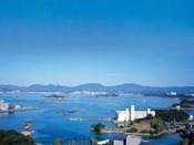 部屋から一望できる古賀湾の風景!