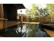 【貸切風呂 竹座】竹づくりの母屋と竹林を思わせる温泉露天風呂・Private open air-bath ( image )
