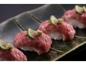 人気の信州和牛のあぶり寿司アラカルト