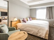 コネクティングルーム(スタンダードツイン17.4平米×2部屋)王室御用達「スランバーランド社」製100cm幅ベッドを2台×2部屋分(4台)設置(ハリウッドツインタイプ)