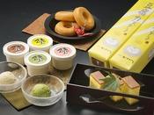 【豆富製品 お土産一例】自家製豆腐アイス、豆乳ドーナツ、豆富カステラ。売店で販売しております♪