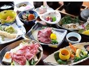 【夕食一例】スタンダード。女将手作りの味が随所に隠れた田舎風会席料理。※¥15,000~19,000