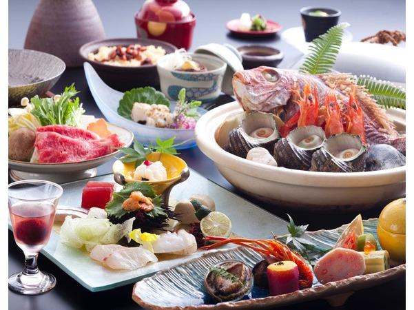 鮮魚と山里の幸をちりばめた夕食イメージ