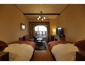間に通路を挟み左右にベッドが配置されたベッド2台の客室。※ベッド同士を合わせるご手配はできません。