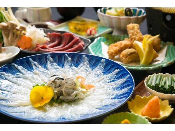 温泉トラフグのコース料理