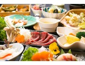 地元産野菜や有機野菜など季節に合わせた旬の食材でお作りします。地元の名物食材である八溝ししまるやホンモロコなどなど、季節ごとに変わる食材をお楽しみください。