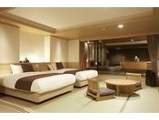 露天風呂付客室「山水亭」和洋室の一例