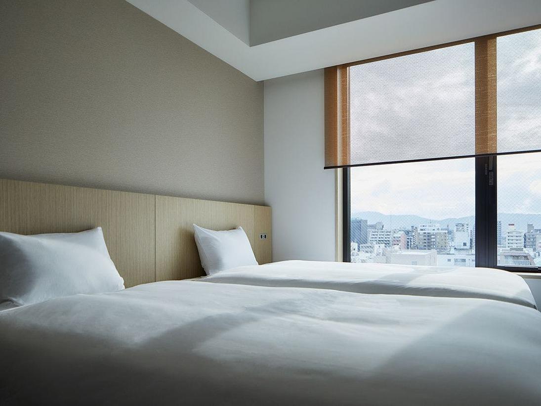 【Twin】ベッドはハリウッドなのでゆったりお休み頂けます。