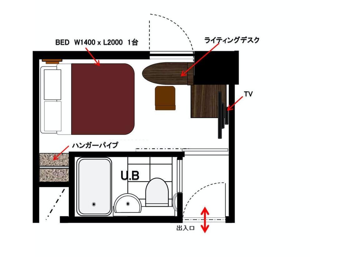 ダブルルーム【禁煙・喫煙】ダブルルーム・間取り図イメージ※実際のお部屋は左右対称がございます。