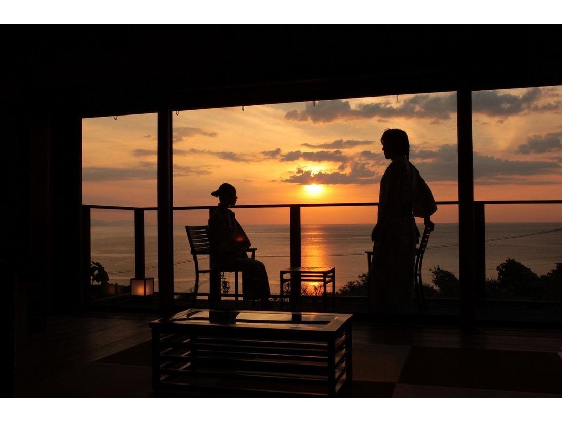 離れ客室 海鈴から夕日を眺める