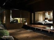 部屋からは勿論、客室用露天風呂からも石庭と日本海を眺望する贅沢な間取り