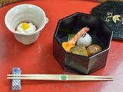 *お夕食一例/酒菜。旬の野菜や珍味などを贅沢に使った献立です。
