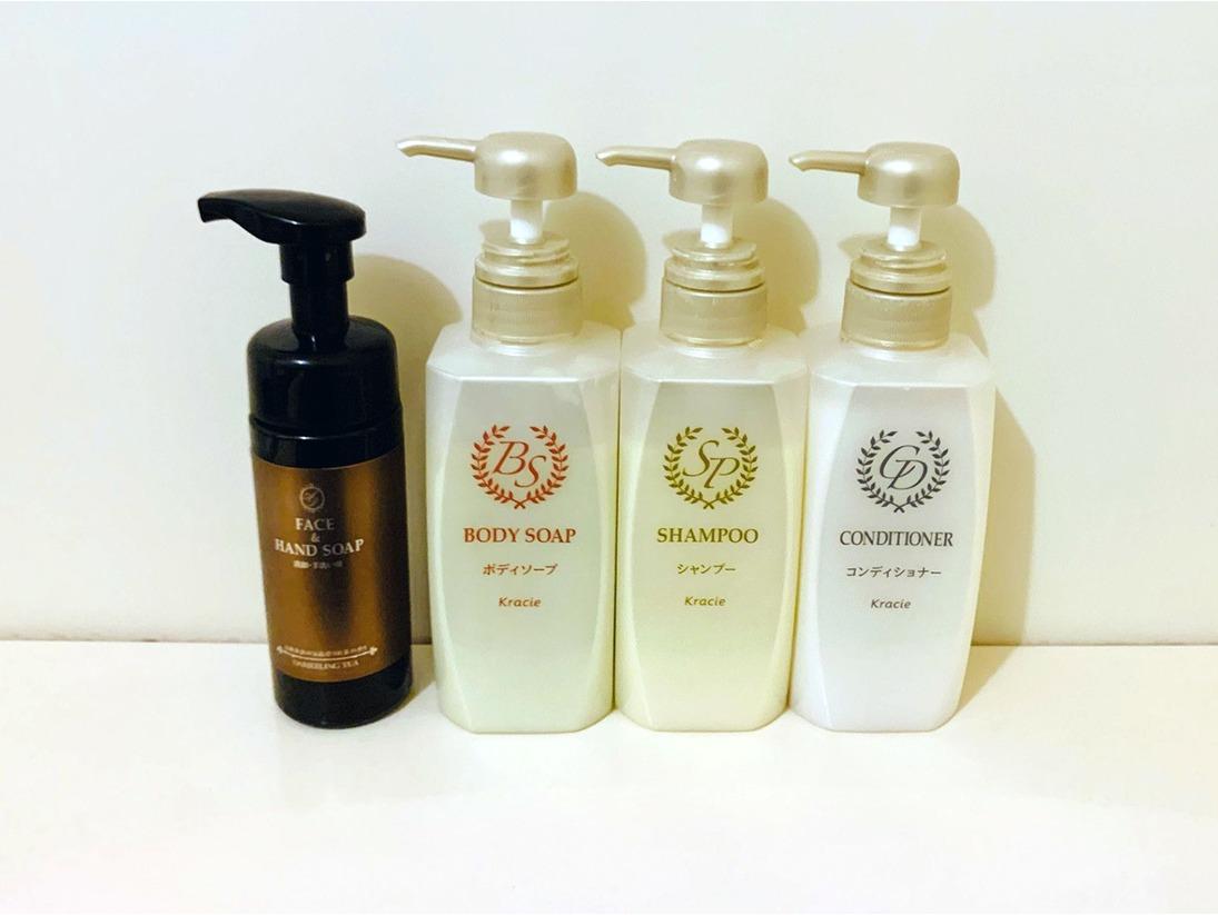 浴室にシャンプー・コンディショナー・ボディソープ・洗顔手洗い用ソープご用意致しております。