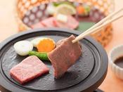 岩手の特産「前沢牛」を軽く焼いてお召し上がりください。