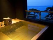 貸切露天風呂「夢海」~美しい海景を愉しめる桧浴槽