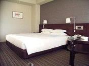 スーペリアダブル(Central Side客室)キングサイズベッドが1台入ったお部屋です。32平米というスーツケースを拡げられる十分なスペースがうれしい便利な客室です。