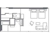 【鴨川ガーデンスイート(51.5平米)】客室レイアウト一例