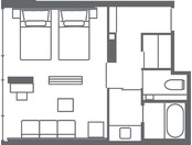 【スーペリアコーナーツイン(39.2平米)】客室レイアウト一例