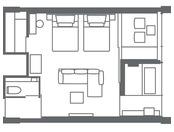 【ガーデンスイート(51.0平米)】客室レイアウト一例