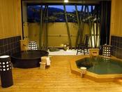 貸切露天風呂は檜と陶器の2つの浴槽♪ご家族でも楽しめます。