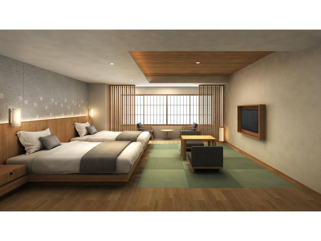 機能的な和洋室です。ご高齢の方や海外のお客様にはおすすめでございます。※モダン和室は、2タイプご用意がございます。※写真はAタイプ客室となります。