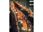 竿燈祭り・・・東北三大祭りの一つに数えられています。当ホテルから会場までは徒歩5分で行けます。