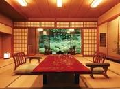 和室12帖のイメージ。4室あるお部屋の中でも一番人気のお部屋【菊】お部屋からみえる日本庭園がとても趣があります。