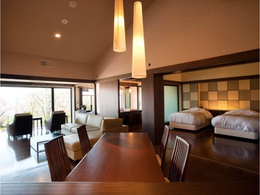 ◆【露天風呂付】特別室/露天風呂、リビングダイニング、ミニキッチンなどを備えた水の謌最上級のお部屋。(一例)