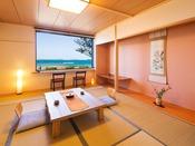 日本海を一望しながら、ゆとりのある空間で心身ともにリラックス