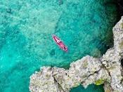 シーカヤックで透き通ったコバルトブルーの海に触れれば、心も体もリラックス