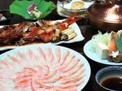 地元の食材、金目鯛のしゃぶしゃぶと煮付。プランや別注料理でお召し上がり頂けます。
