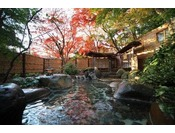 四季折々の景色を楽しめる野天風呂。昼間は木洩れ日、夜は星空を楽しめます。