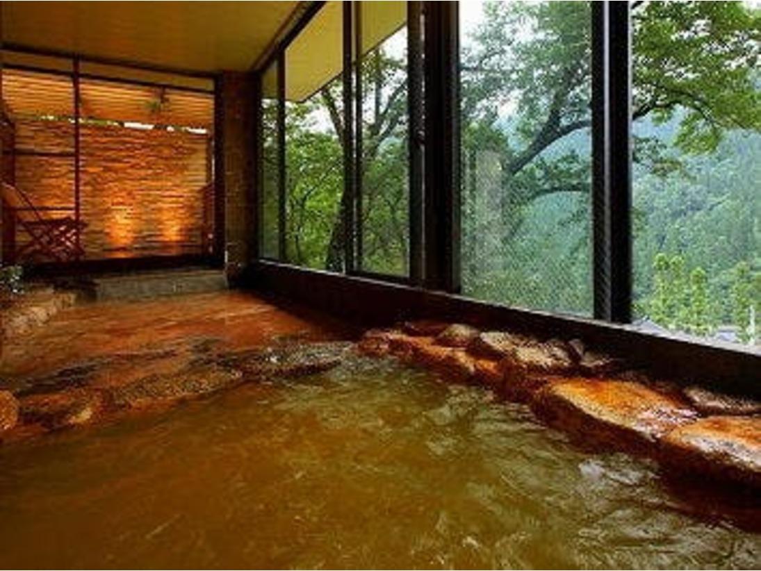 2種類の源泉が愉しめる大浴場♪赤茶色の炭酸鉄泉は鉄分が豊富で婦人科系の疾患に効果があり