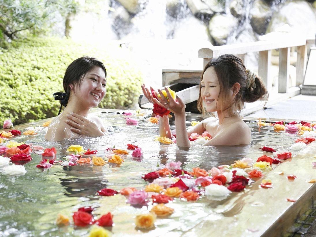 【庭の湯】ばら妃乃湯 14:00~22:00 毎日実施しております