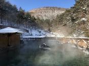 【西の河原公園露天風呂】園内のいたる所から温泉が湧き出している散歩エリア。ホテルより徒歩5分。