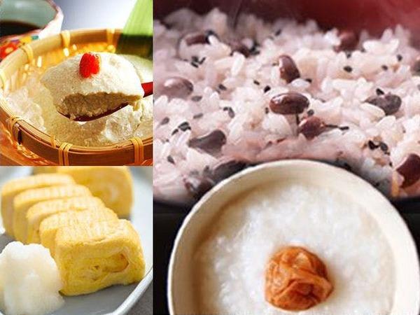 【朝食】お粥、お赤飯、自家製豆腐、卵焼き