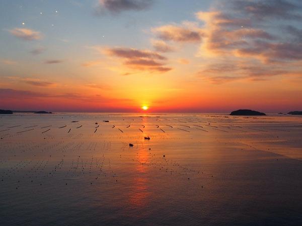 絶景の志津川湾の日の出