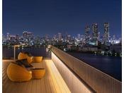 14階テラスからは天気が良い日にはあべのハルカスをはじめ大阪市内を一望していただけます。