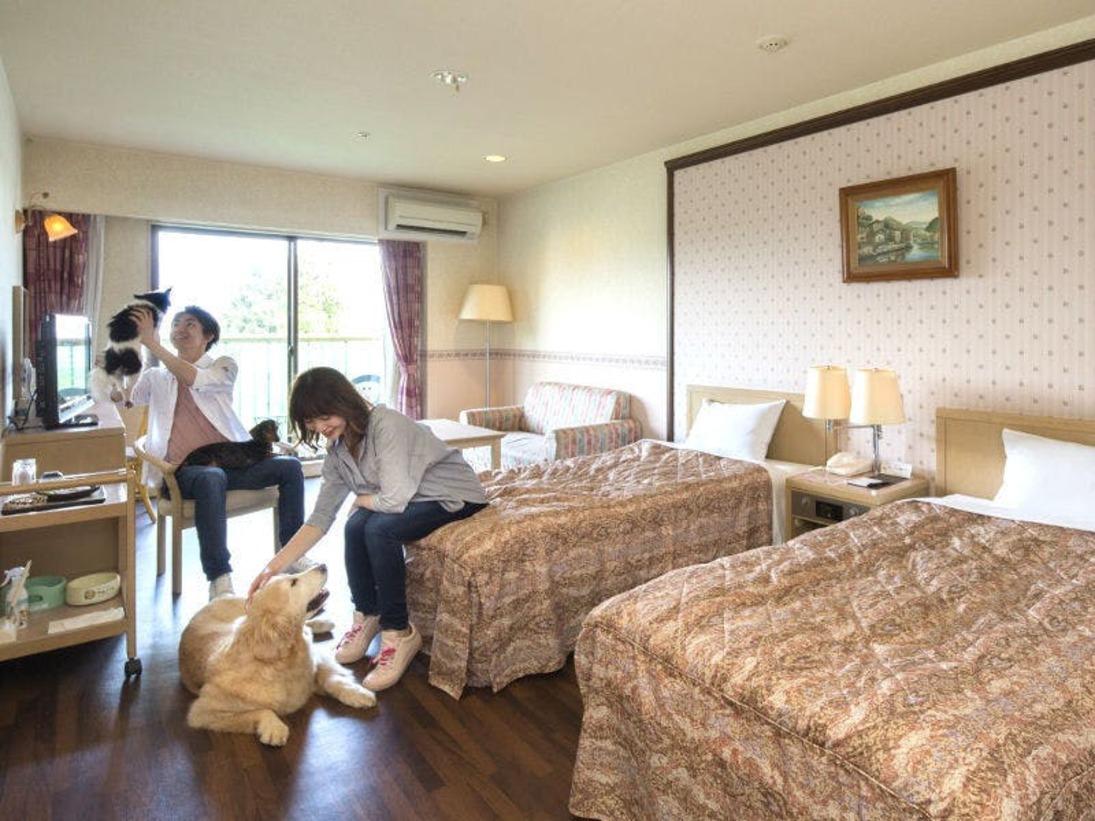 【スタンダードツインルーム】部屋も一緒が嬉しいね♪小型犬~大型犬まで宿泊OK!