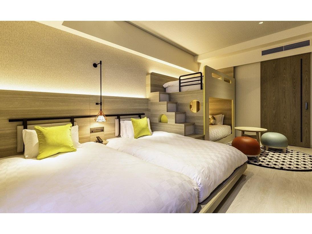 【ファミリールーム 】ツインベッド&2段ベッド 29.7平米 ご家族やご友人と座って語り合えるスペースも