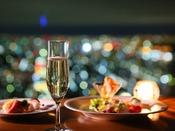 【クラブラウンジ】*カクテルサービスイメージ*カクテルサービス タイム(5:30pm~7:30pm)ビール、ワイン、ウィスキーなどの各種アルコールとアペタイザーを取りそろえております。