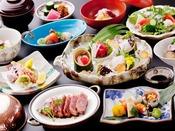 【三田牛付会席】 当館一番人気料理、三田牛の網焼きが付いた会席料理です。いつもより、ワンランク上の料理をお楽しみくださいませ。