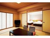南館 和洋室 和室部分とツインベッドで最大5名様まで宿泊可能!ファミリーでのご利用におすすめ!