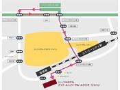 阪神高速 ユニバーサルシティ出口からホテルまで